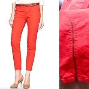 GAP 1969 lava orange zipper-calf skinny jeans